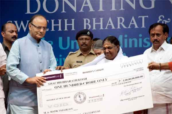 spiritual leader Amma donated 100 crore for Swachcha Bharat Mission