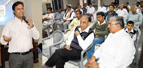 Regional Head of Tata addressing during a Seminar held Krishna Hotel, Churu