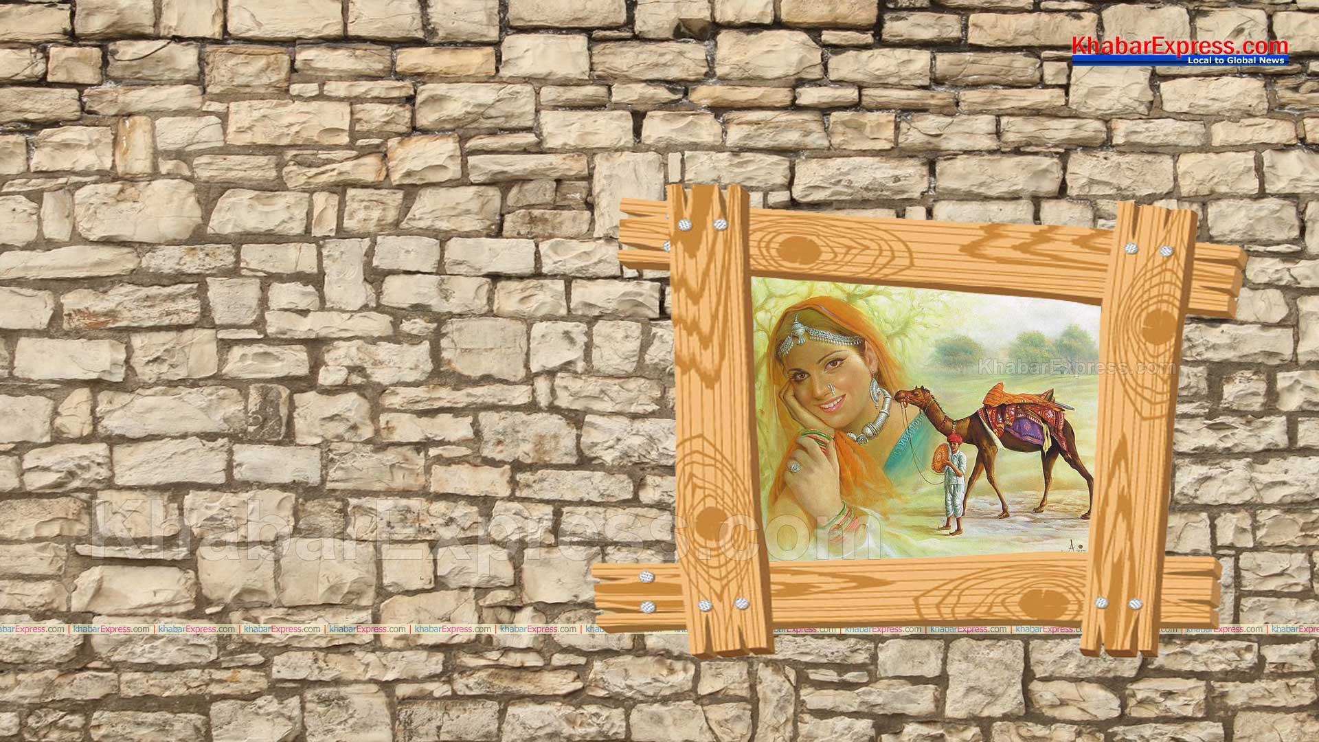 Rajasthani Village Scenery Painting on wooden wall Frame