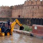 Portion of a wall of Jungarh broken to drain the surplus water