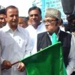 Virendra Beniwal shows green flag to Bikaner City Bus Service