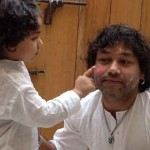 Kailash Kher playing Holi with child