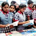 Students at Kendriya Vidyalaya searching Hindi Book