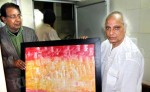 Journalist and Artist Sri Gopal Vyas gifting his painting to Pt. Jasraj on his 85th Birthday