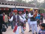 Artists of Bikaner playing on the bands at 'Dilli haat' in New Delhi