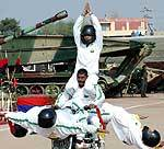 Janbaj excersing for a Motor show to be perfumed in Defence Exhibition at Bikaner