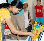 Chief guest Dr. Mrs. Gupta, Chairperson of Bikaner Public School inaugurating Summer Camp in School