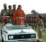 CM Vasundhara Raje Inspecting the Parade at Independence Day Function at Karni Singh Stadium,Bikaner