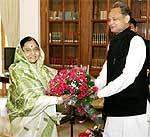 Gahlot meets President Pratibha Patil Vice-President M. Ansari and PM Dr Manmohan Singh