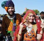 Foreign Couple at Dr Karni Singh Stadium during the Camel Festival 2011 held at Bikaner