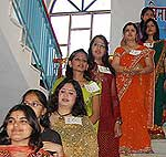Girls doing catwalk in farewell party function at Binani girls College Bikaner