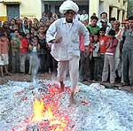 Holi celebration in PIC Ц Walk on Fire during on Holi Fir Ritual at Banswara