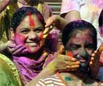 Holi celebration in PIC Ц Girls coloring each other