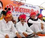 Congress Leaders paying homage to Late Jethram Dudi during Farmer's Mega Fair at Nokha, Bikaner