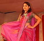 A model performs Khadi Saree at Khadi Fashion Show held during Bikaner Trade Fair
