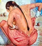 A rural scene: women takes bath in open