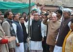 Rajsthan Education Minister Master Bhanwar Lal Meghwal unfurling the Flag in the City Cogress office