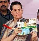 Sonia Gandhi releasing the book Glimpses of Neyveli