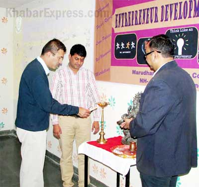 Dr Gaurav Bissa Light Up the Lamp of entreprenuer workshop at MEC, Bikaner