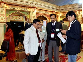 Businessmen inquiring at Rajasthan Pavilion in Bhartiya Pravasi Divas