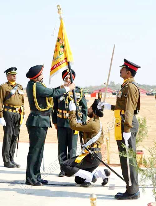 Army Chief Vikram Singh gives Nishan Flag to 67 Regiment at Bikaner